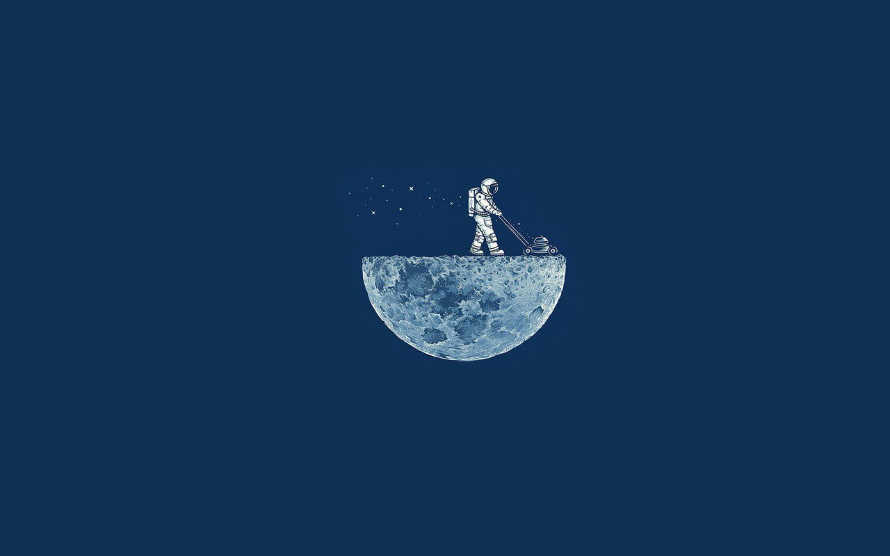 Flat Wallpaper Moon Lawnmower