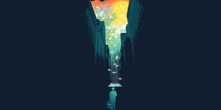 Flat Wallpaper Rain at the City