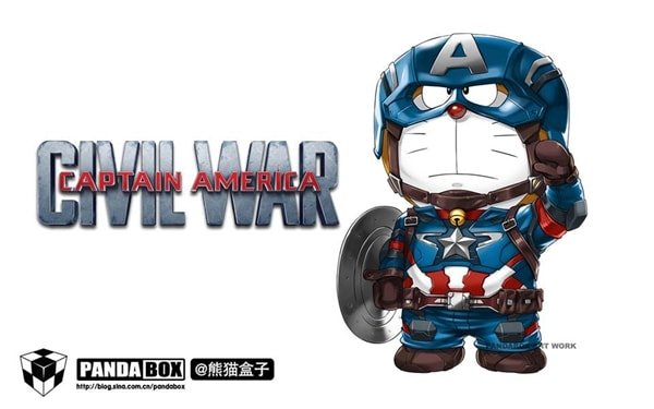 Captain America v2 Doraemon Superhero