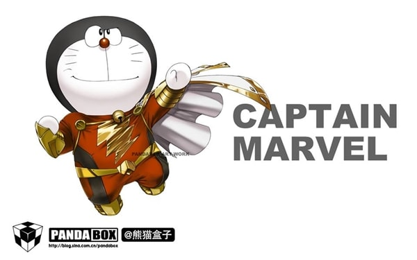 Captain Marvel Doraemon Superhero