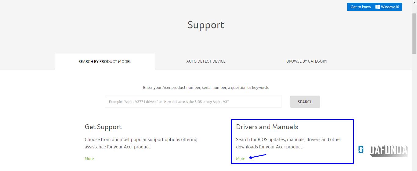 cara download driver Acer-DAFUNDA