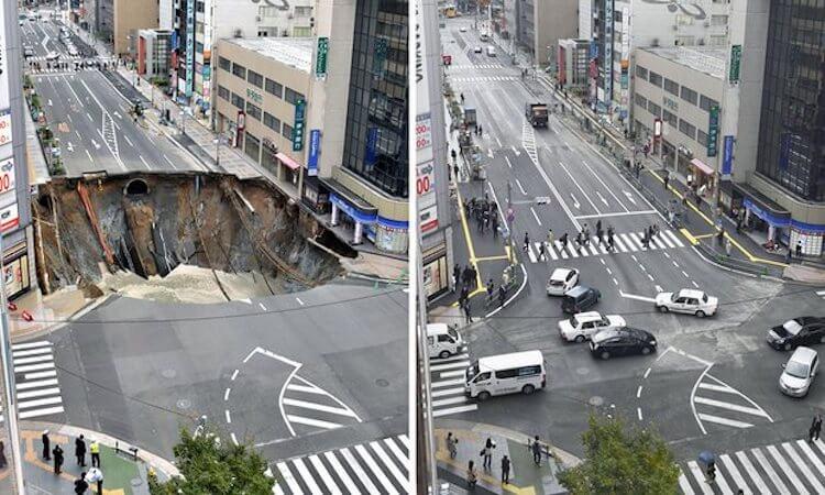 Lubang Besar Fukuoka berhasil di perbaiki