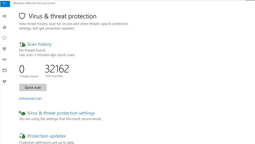 Virus & threat protection di Windows Defender
