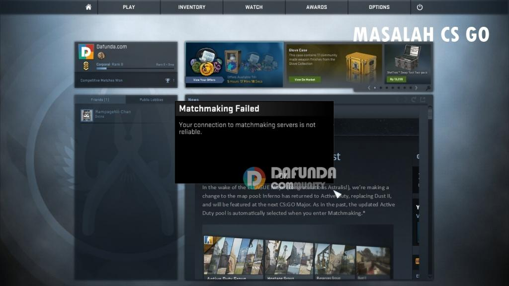 Not connected to matchmaking servers cs go