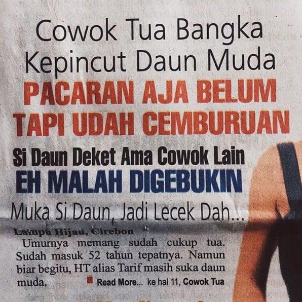 judul koran lampu hijau tentang asmara berujung bencana 01