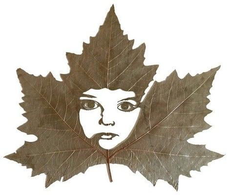karya seni daun 14