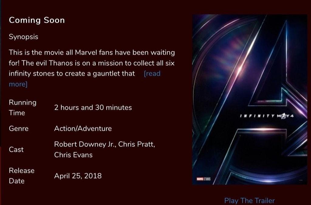 Runtime Avengers Infinity War