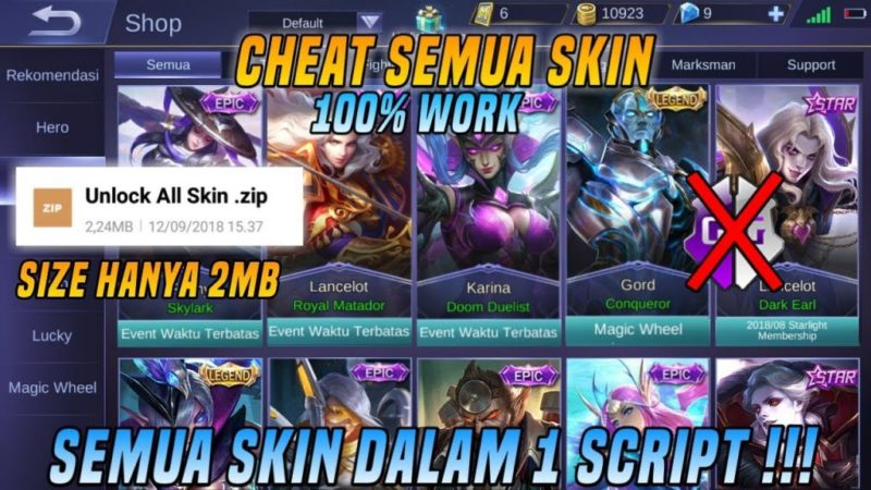 Tutorial Cheat Membuka Semua Skin Epic Mobile Legends Tebaru 2018! Dafunda Game