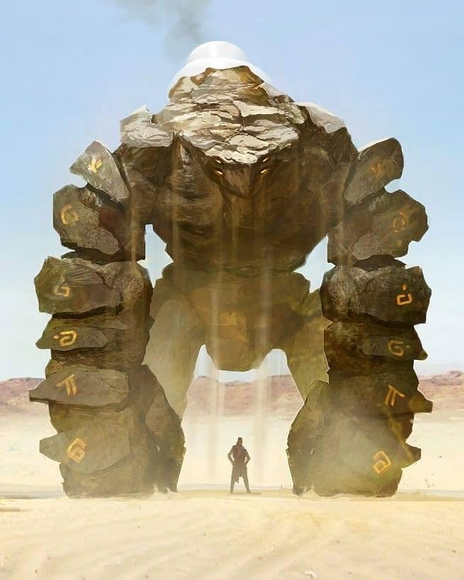 Bikin Merinding, Beginilah 10 Ilustrasi Jika Mahluk Mitologi Ada Di Dunia Nyata! Golem Padang Pasir