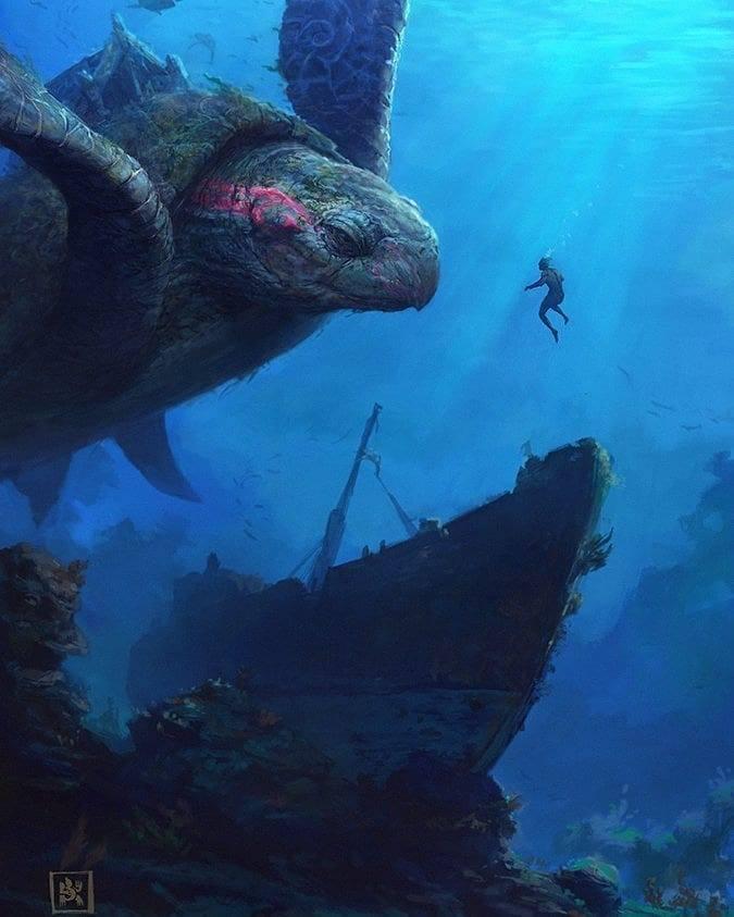 Bikin Merinding, Beginilah 10 Ilustrasi Jika Mahluk Mitologi Ada Di Dunia Nyata! Kura Kura Laut