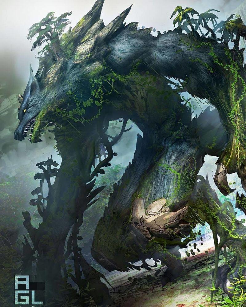 Bikin Merinding, Beginilah 10 Ilustrasi Jika Mahluk Mitologi Ada Di Dunia Nyata! Serigala Pohon