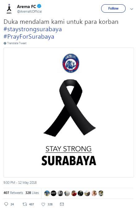 #PrayForSurabaya, Inilah Dukungan 6 Klub Sepak Bola Untuk Korban Bom Surabaya! Arema