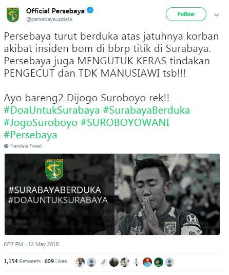 #PrayForSurabaya, Inilah Dukungan 6 Klub Sepak Bola Untuk Korban Bom Surabaya! Persebaya