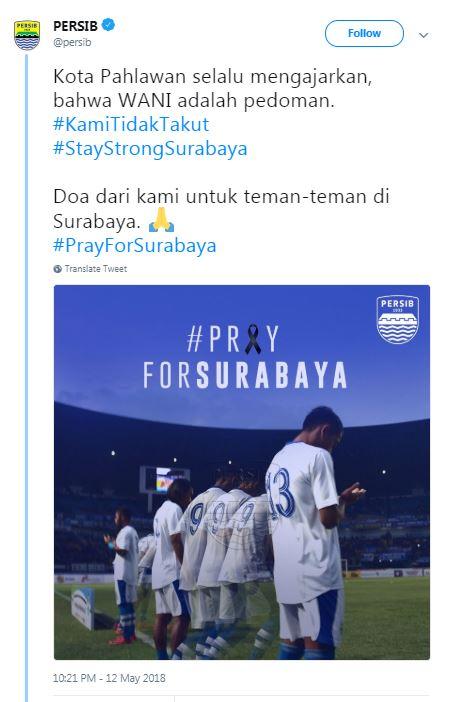 #PrayForSurabaya, Inilah Dukungan 6 Klub Sepak Bola Untuk Korban Bom Surabaya! Persib