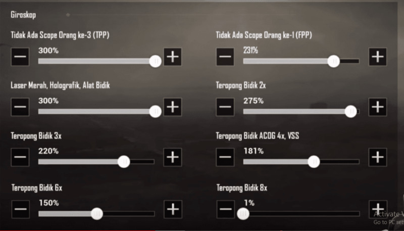 Settingan Sensitivitas PUBG Mobile EJ Gaming Gyroscope