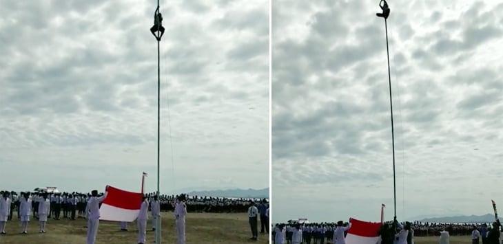 Viral, Aksi Heroik Bocah SMP Panjat Tiang Bendera Demi Sang Merah Putih Berkibar Saat HUT RI Ke 73! Dafunda Gokil