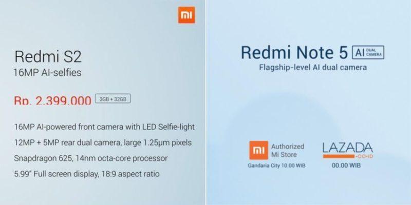 Harga Xiaomi Redmi Note 5 Dan Xiaomi Redmi S2