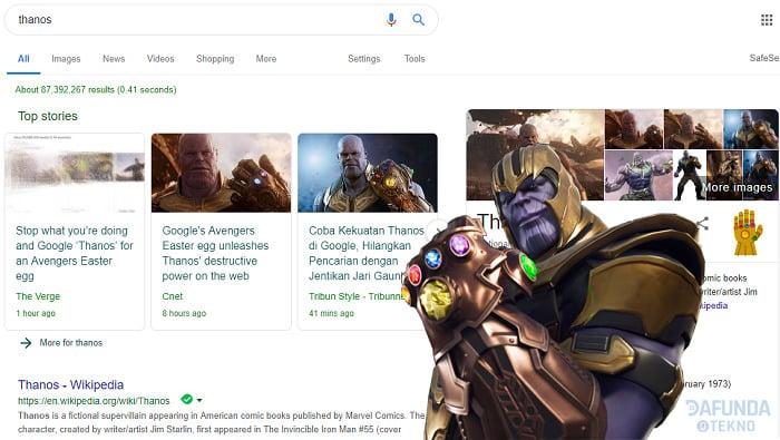 Jentikan Jari Thanos Di Mesin Pencariang Google