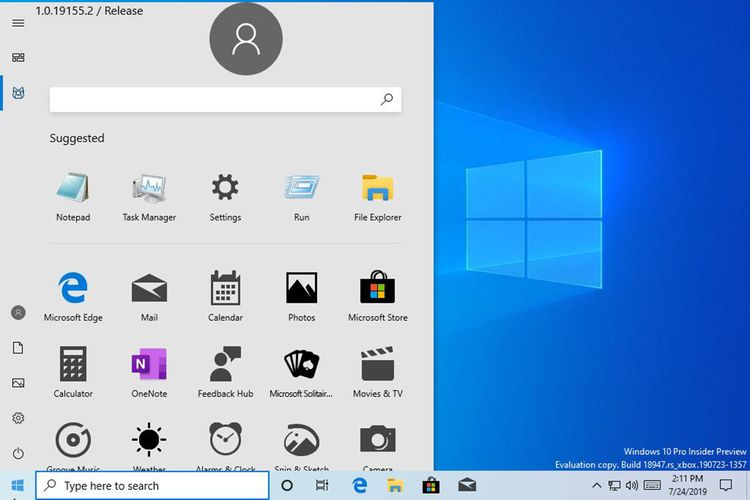 Tampilan Start Menu Di Windows 10 Baru