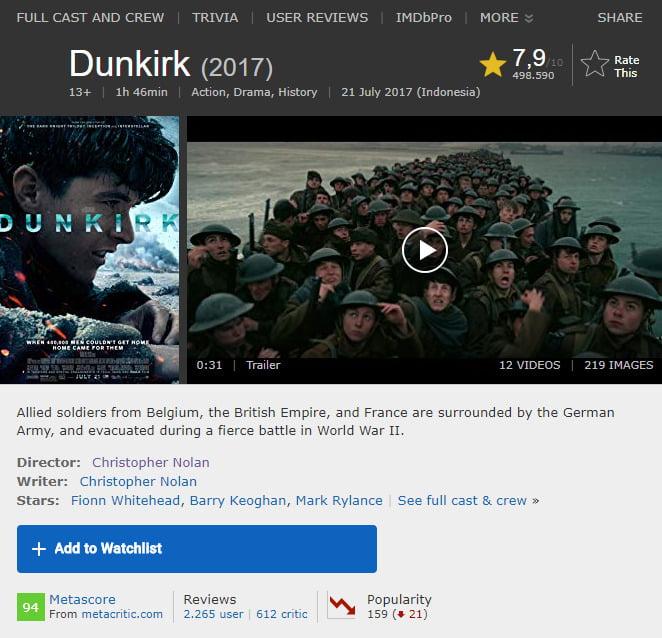 film Christopher Nolan Dunkrik