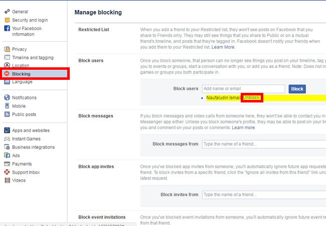 Cara Membuka Blocking Di Facebook