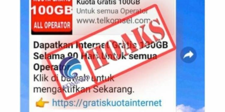 Informasi Hoaks Paket Data Internet Gratis 100 Gb