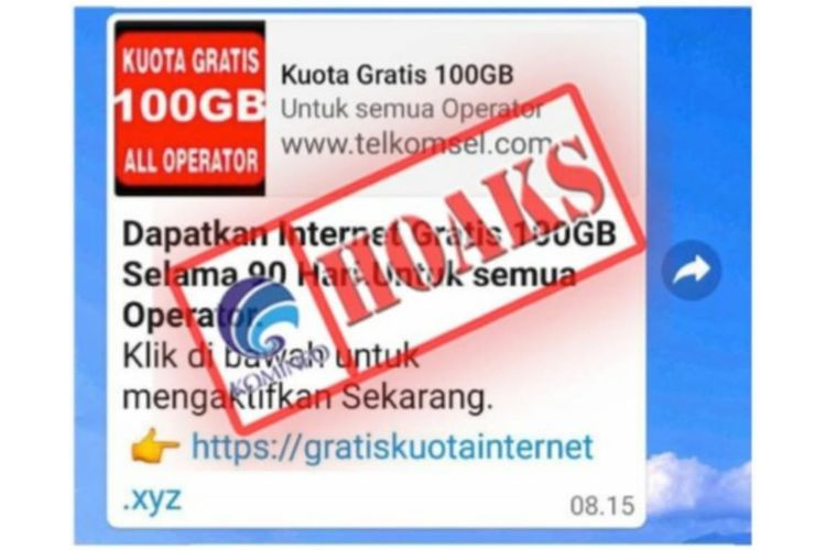 Informasi Hoaks Paket Data Internet Gratis 100 Gb