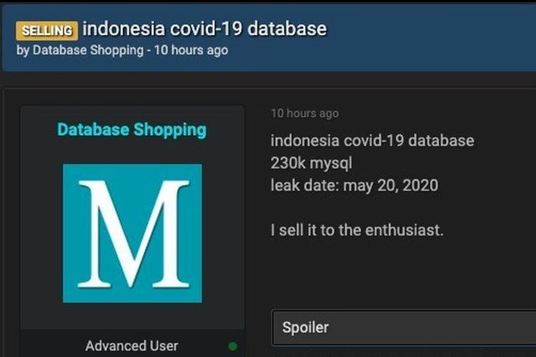 Tampilan Layar Akun Database Shopping Di Situs Raid Forums