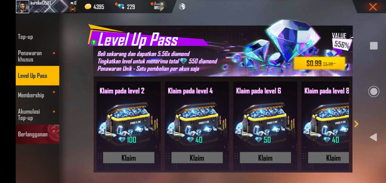 Level Up Pass Ff Diamond Murah
