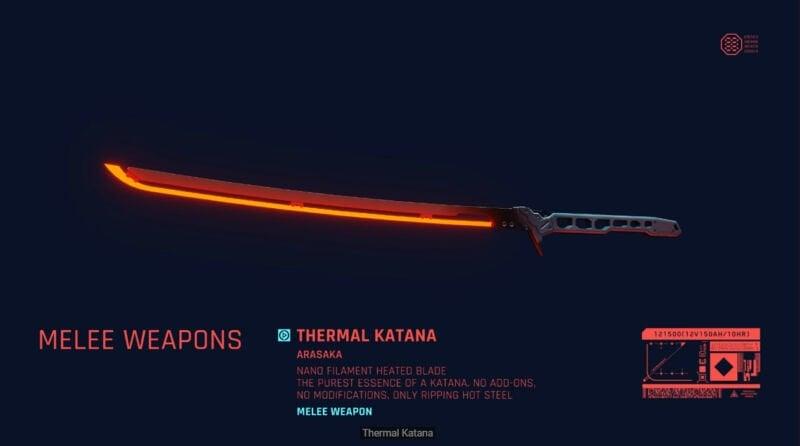 Thermal Katana Cyberpunk 2077