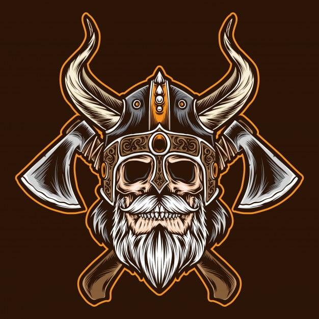 Logo Free Fire Keren- Bearded Viking Skull With Axe