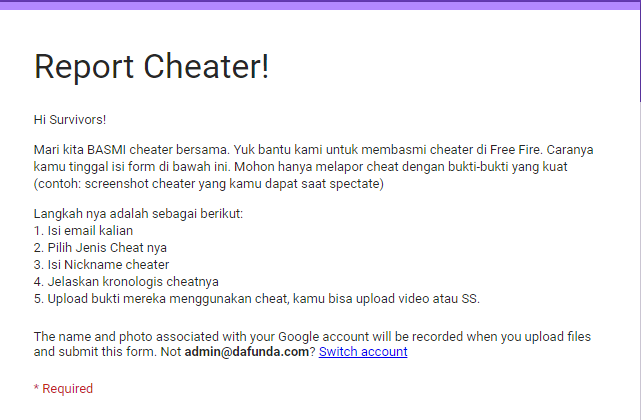 Cara Lapor Cheater Free Fire